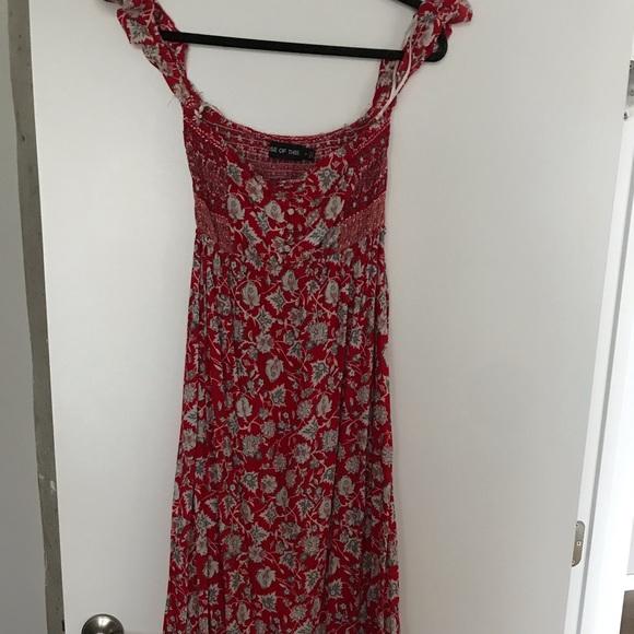 LF Dresses & Skirts - LF Off The Shoulder floral red maxi dress